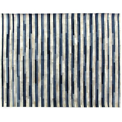 Natural Hide Leather Hand-Stitched Denim/Ivory Area Rug