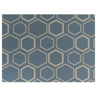Hand-Woven Wool Turquoise/White Area Rug Rug Size: Rectangle 5 x 8