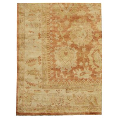 Oushak Hand-Knotted Wool Red/Beige Area Rug Rug Size: Rectangle 9 x 12