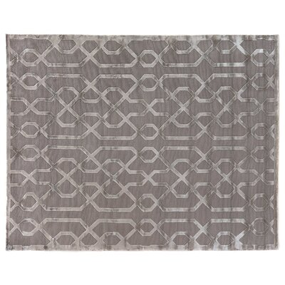 Hand-Knotted Wool/Silk Silver/Gray Area Rug Rug Size: Rectangle 9 x 12