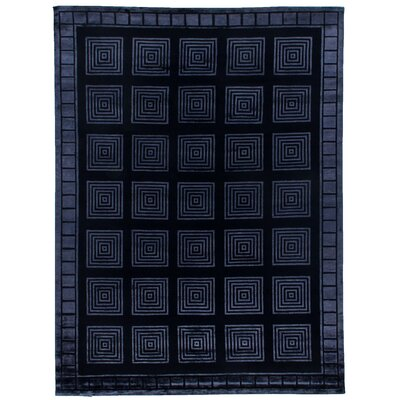 Hand-Knotted Wool/Silk Navy Area Rug Rug Size: Rectangle 9 x 12