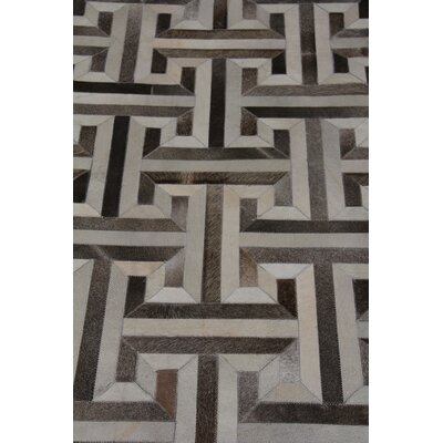 Natural Hide Leather Hand-Woven Ivory/Charcoal Area Rug Rug Size: Rectangle 136 x 176