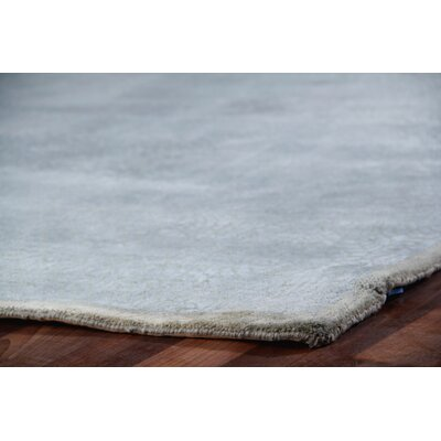 Mosaic Hand Knotted Wool/Silk Light Blue Area Rug Rug Size: Square 10