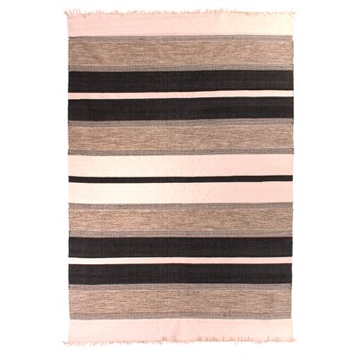 Soft Flat Weave, Cotton, Black (12x 15) Area Rug