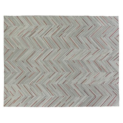 Natural Hide Leather Hand-Woven Gray/Red Area Rug Rug Size: Rectangle 116 x 146