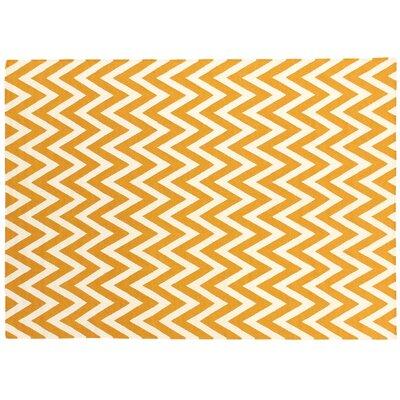 Hand-Woven Wool White/Orange Area Rug