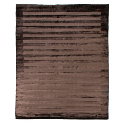 Hand-Woven Silk Chocolate Area Rug Rug Size: Rectangle 14 x 18