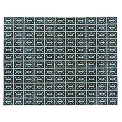 Natural Hide Leather Hand-Woven Teal/Black Area Rug Rug Size: Rectangle 136 x 176