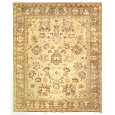 Oushak Hand Woven Wool Ivory/Brown Area Rug