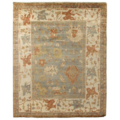 Oushak Hand-Knotted Wool Seafoam Area Rug