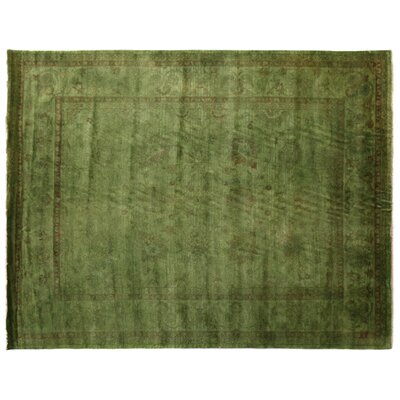 Overdyed Hand-Woven Wool Green Area Rug