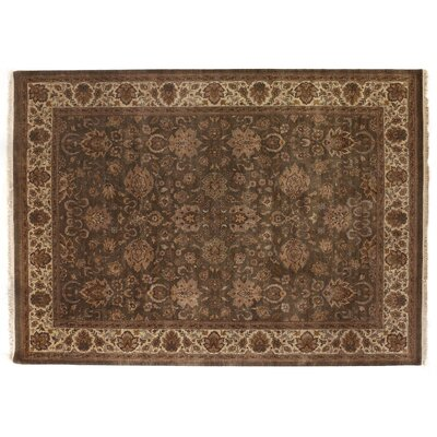 Agra Hand-Knotted Wool Brown Area Rug Rug Size: Round 6