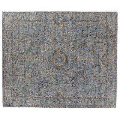 Serapi Hand-Knotted Wool Blue/Beige Area Rug Rug Size: Rectangle 10' x 14'