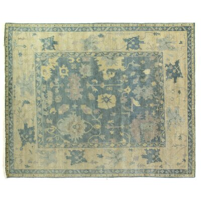 Oushak Hand-Knotted Wool Blue/Ivory Area Rug Rug Size: Rectangle�10' x 14'