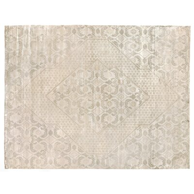 Hand-Woven Silk Beige Area Rug Rug Size: Rectangle 10 x 14