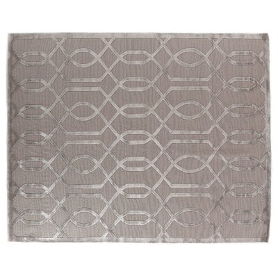 Hand-Knotted Wool/Silk Gray/Silver Area Rug Rug Size: Rectangle 14 x 18