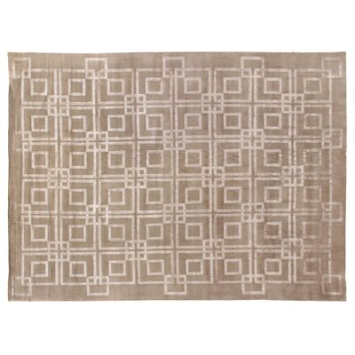 Super Tibetan Hand-Knotted Taupe Area Rug Rug Size: Rectangle 9 x 12
