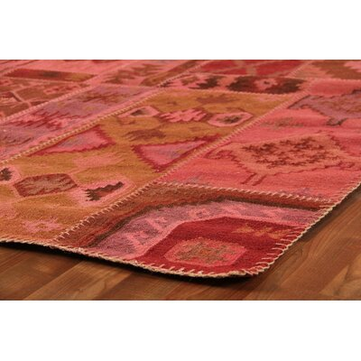 Flat Weave Hand-Woven Wool Red/Pink Area Rug