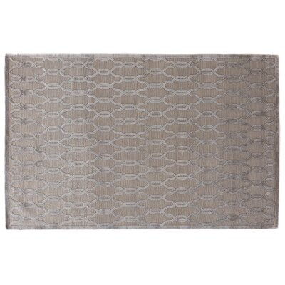 Harmony Hand Knotted Wool/Silk Light Silver Area Rug Rug Size: Rectangle 6 x 9