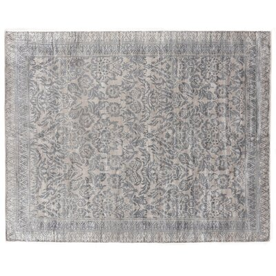 Antique Weave Hand-Knotted Silk Gray/Ivory Area Rug