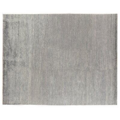 Crush Hand Knotted Silk Ivory/Aqua Area Rug Rug Size: Rectangle 9 x 12