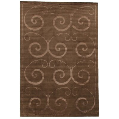 Super Tibetan Hand-Knotted Brown Area Rug Rug Size: Rectangle 8 x 10