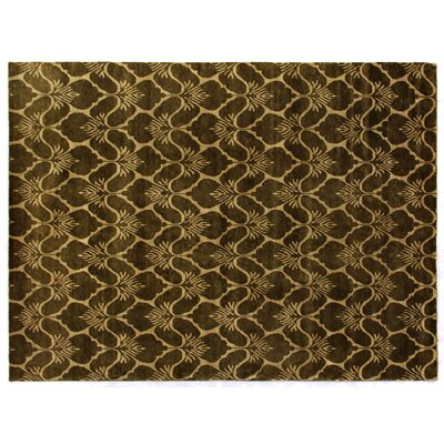 Super Tibetan Hand-Knotted Green/Beige Area Rug Rug Size: Rectangle 9 x 12