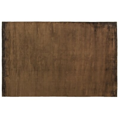 Plain Dove Hand-Knotted Silk Chocolate Area Rug Rug Size: Rectangle 12 x 15