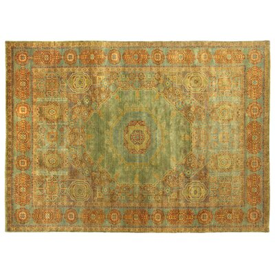 Mamluk Hand Knotted Wool Green/Light Blue Area Rug Rug Size: Rectangle 9 x 12