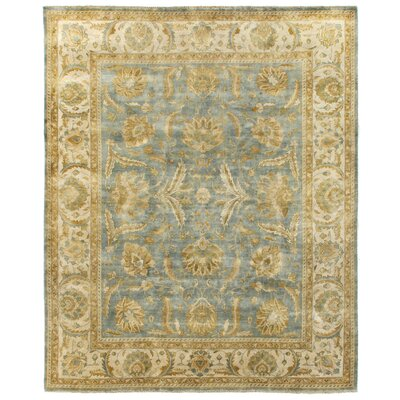 Oushak Hand-Knotted Wool Light Blue/Ivory Area Rug Rug Size: Rectangle 12 x 15