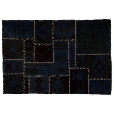 Flat Weave Hand-Woven Wool Blue Area Rug