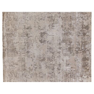 Hundley Hand Knotted Wool/Silk Gray/Silver Area Rug Rug Size: Rectangle 14 x 18