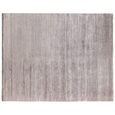 Hand-Knotted Light Gray Area Rug Rug Size: Rectangle 10 x 14
