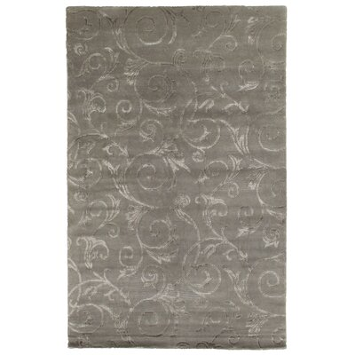 Hand-Knotted Wool/Silk Gray Area Rug Rug Size: Rectangle 9 x 10