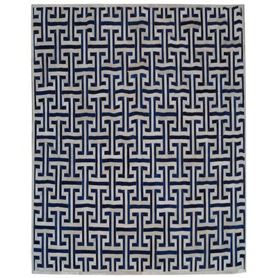 Natural Hide Leather Hand-Woven Navy/White Area Rug Rug Size: Rectangle 116 x 146