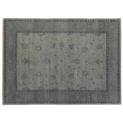 Overdyed Hand-Woven Wool Gray Area Rug