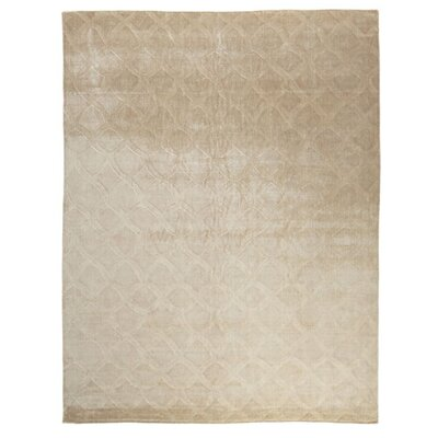 Smooch Carved Hand-Woven Silk Light Beige Area Rug Rug Size: Rectangle�14 x 18