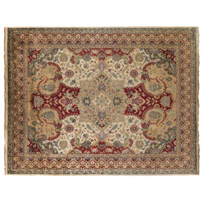 Polonaise Hand Knotted Wool Scarlet/Gold Area Rug Rug Size: Rectangle 12 x 15