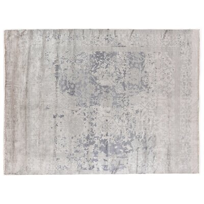 Antique Weave Hand-Knotted Silk Silver Area Rug Rug Size: Rectangle 12 x 15
