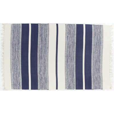 Soft Flat Weave Hand-Woven Cotton Navy Area Rug