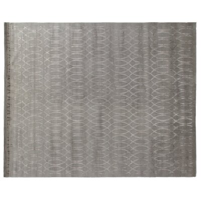 Hand-Knotted Wool/Silk Silver Area Rug Rug Size: Rectangle 9 x 12