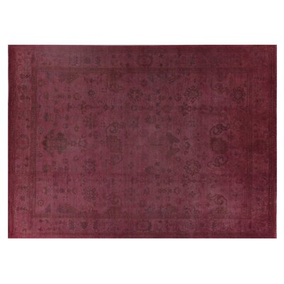 Overdyed Hand-Knotted Wool Pink Area Rug Rug Size: Rectangle 9 x 12