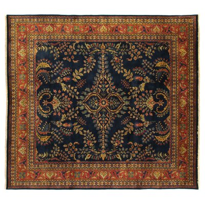 Traditional Hand Woven Wool Navy Area Rug