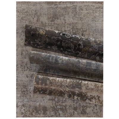 Hundley Hand-Knotted Brown/Blue Area Rug Rug Size: Rectangle�9 x 12