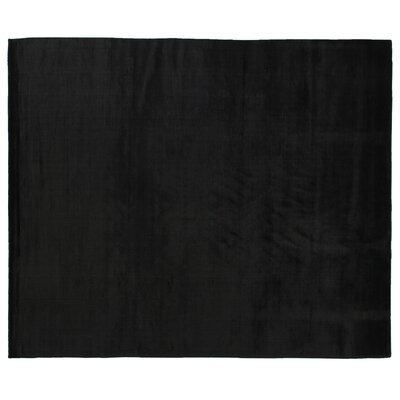 Dove Hand Woven Silk Black Area Rug