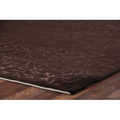 Super Tibetan Hand Knotted Wool/Silk Dark Chocolate Area Rug