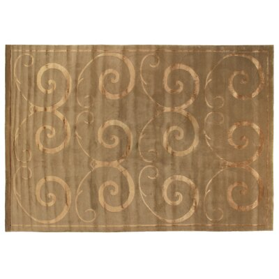 Hand-Knotted Wool/Silk Oatmeal Area Rug