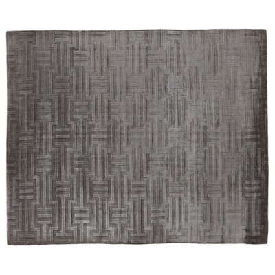 Smooch Carved Hand-Woven Silk Dark Gray Area Rug Rug Size: Rectangle 12 x 15