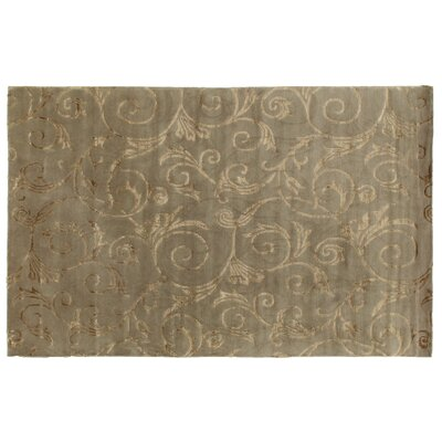 Hand-Knotted Wool/Silk Oatmeal Area Rug Rug Size: Rectangle 9 x 12