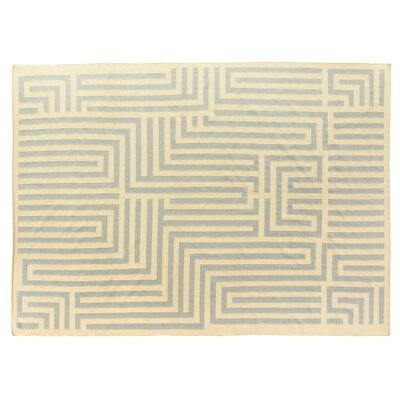 Hand-Woven Wool Light Blue/Ivory Area Rug